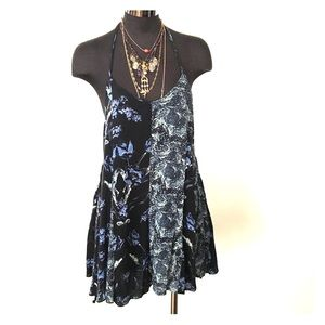 Mixed print romper shorts one piece play suit XS